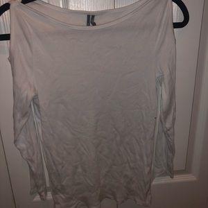 White cutout long sleeve shirt